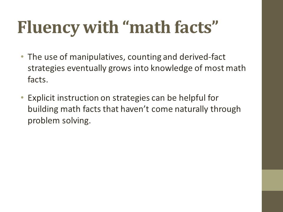 Fluency with math facts