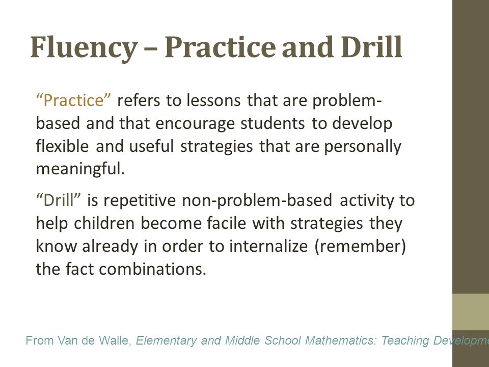 Fluency – Practice and Drill