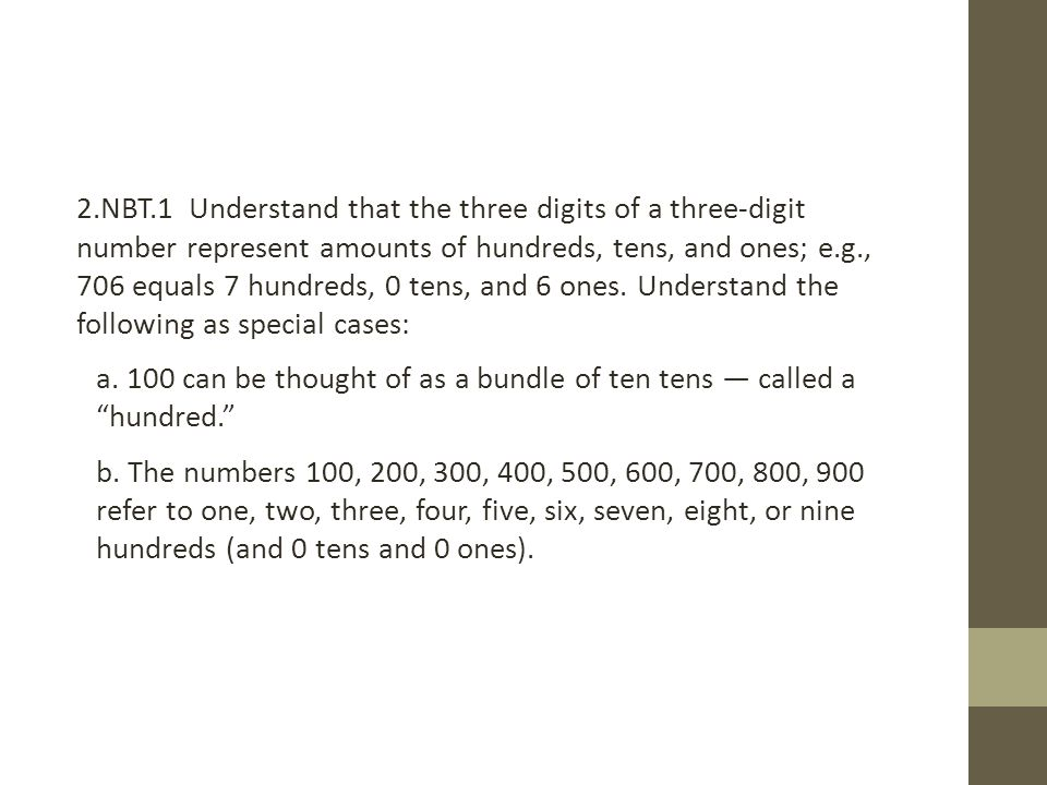 2.NBT.1 Understand that the three digits of a three-digit number represent amounts of hundreds, tens, and ones; e.g., 706 equals 7 hundreds, 0 tens, and 6 ones.