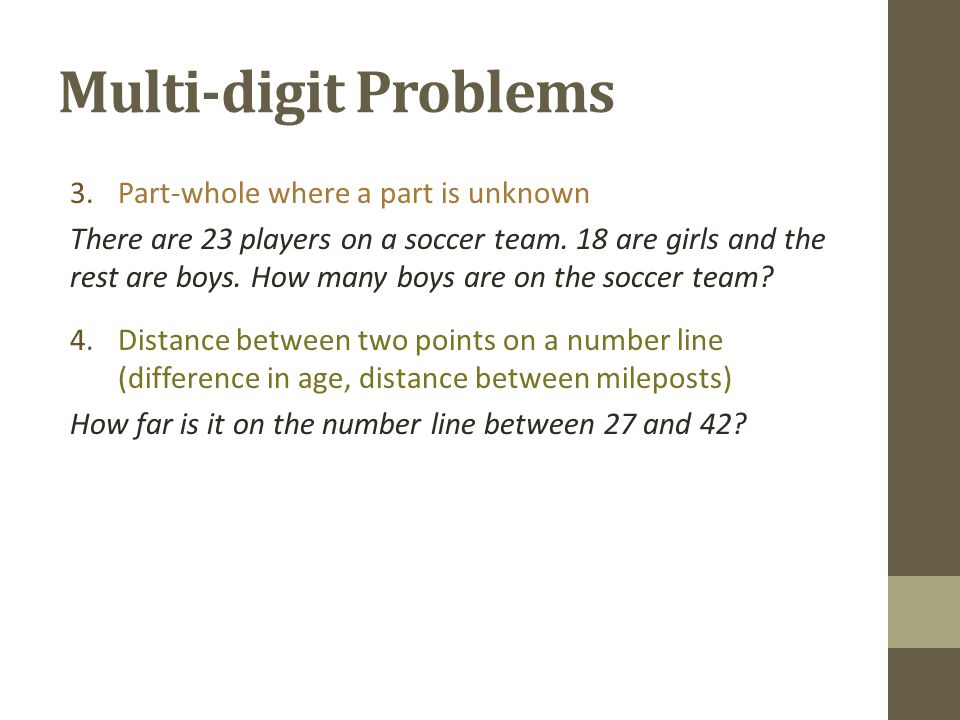 Multi-digit Problems Part-whole where a part is unknown