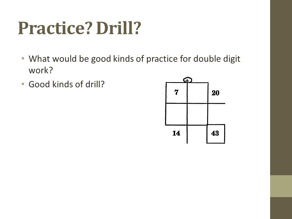 Practice Drill What would be good kinds of practice for double digit work Good kinds of drill