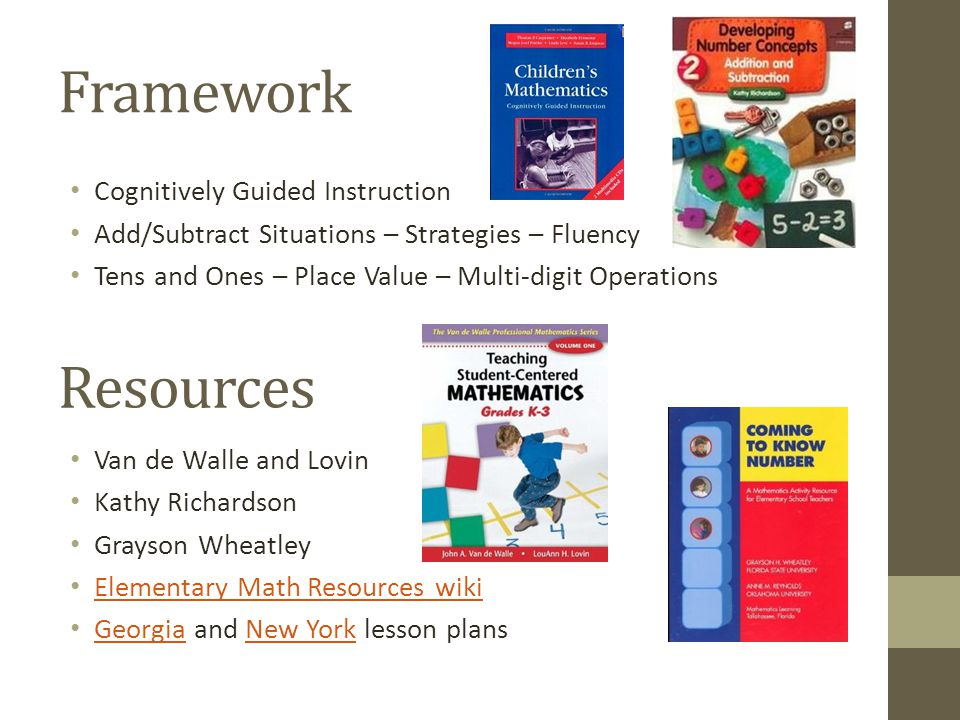 Framework Resources Cognitively Guided Instruction