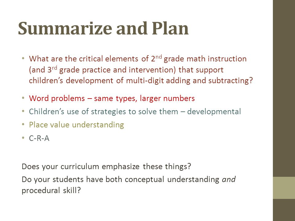 Summarize and Plan