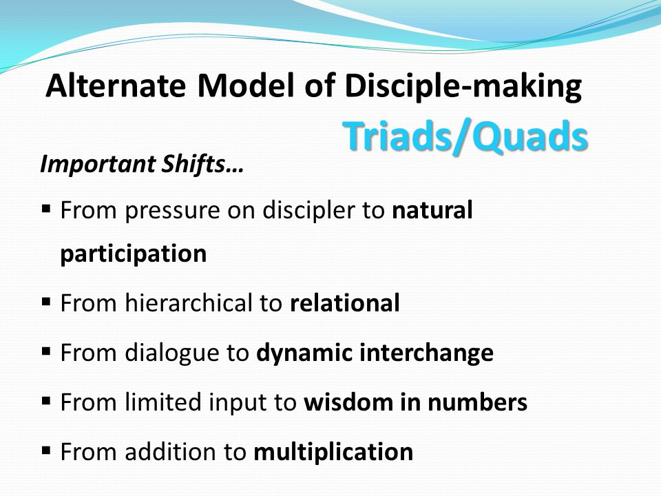 Triads/Quads Alternate Model of Disciple-making Important Shifts…