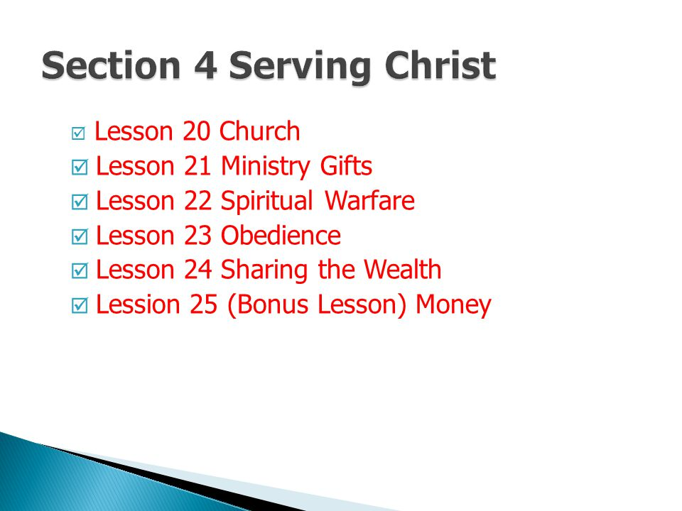 Section 4 Serving Christ