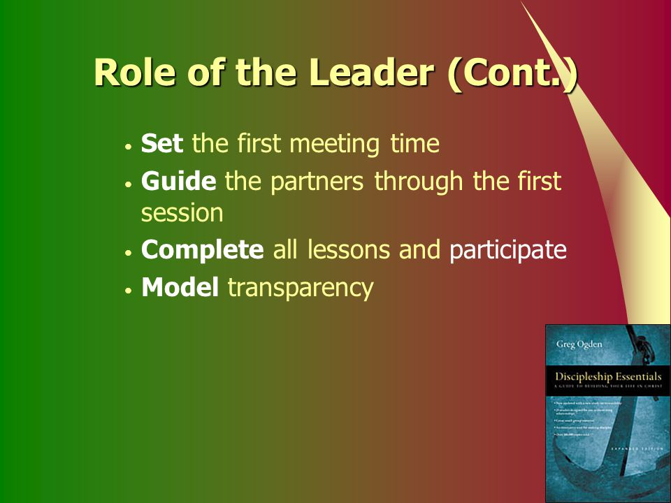 Role of the Leader (Cont.)