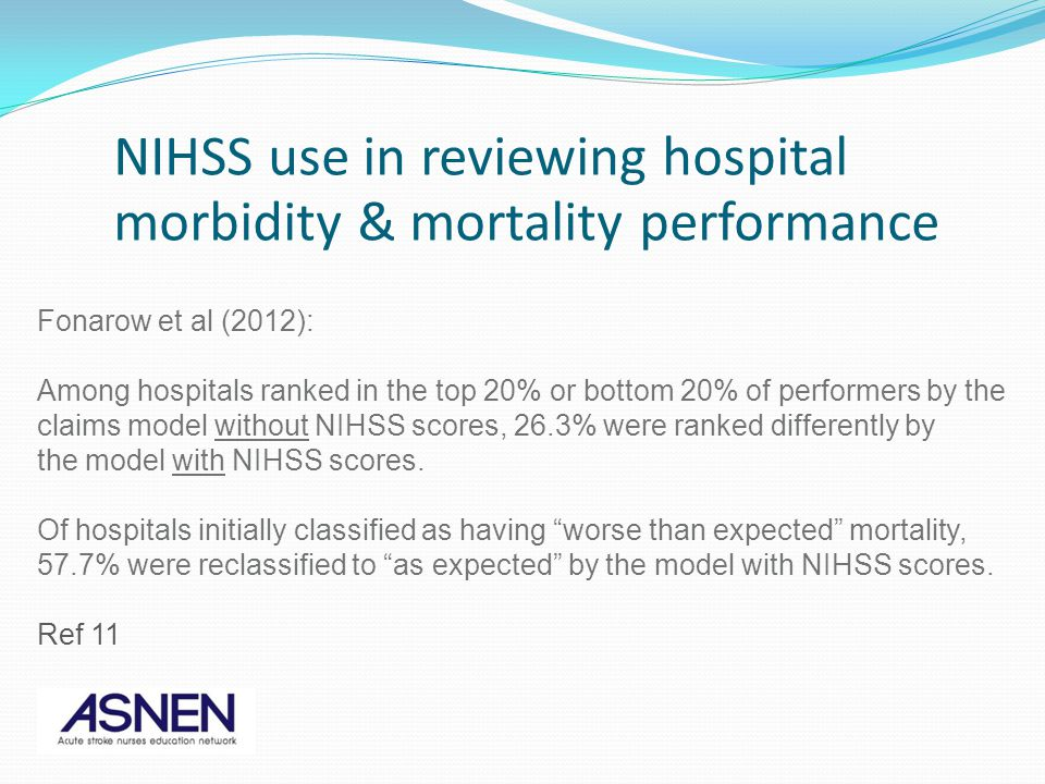 NIHSS use in reviewing hospital morbidity & mortality performance