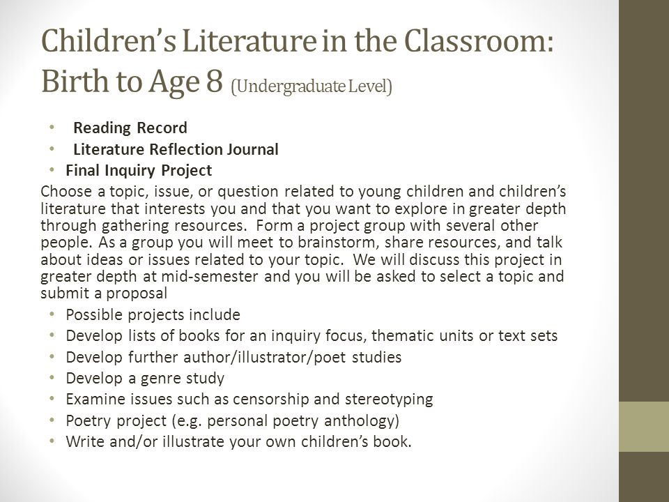 Children's Literature in the Classroom: Birth to Age 8 (Undergraduate Level)