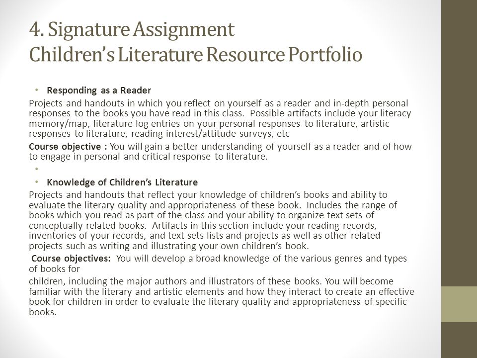 4. Signature Assignment Children's Literature Resource Portfolio