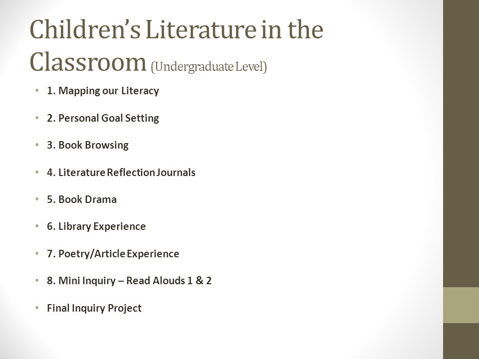 Children's Literature in the Classroom (Undergraduate Level)
