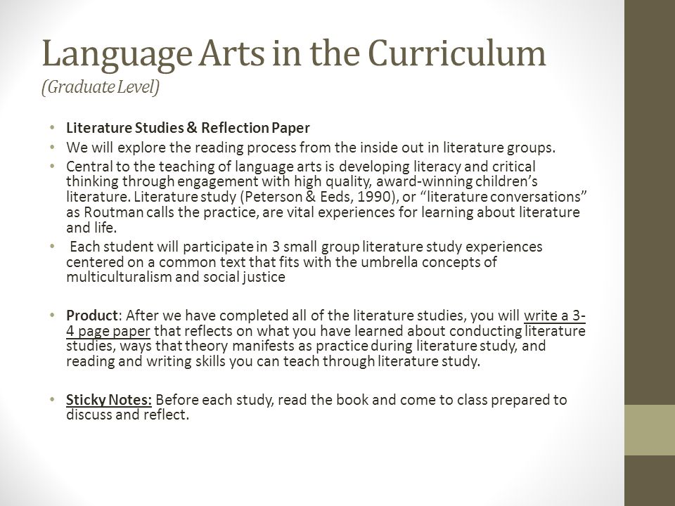 Language Arts in the Curriculum (Graduate Level)