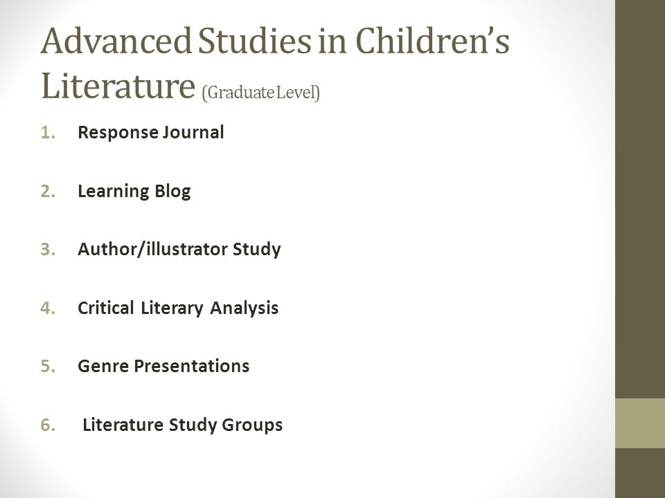 Advanced Studies in Children's Literature (Graduate Level)