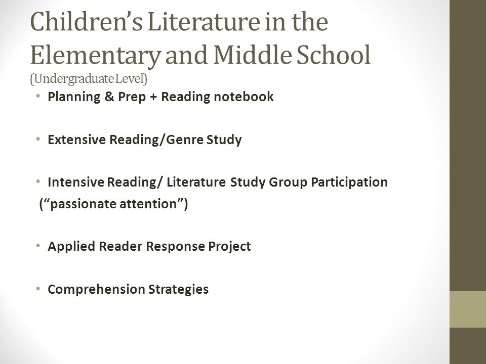 Children's Literature in the Elementary and Middle School (Undergraduate Level)