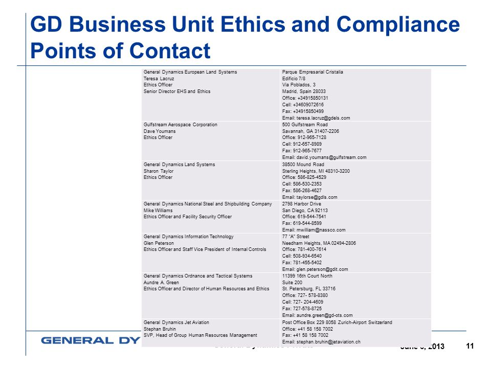 GD Business Unit Ethics and Compliance Points of Contact
