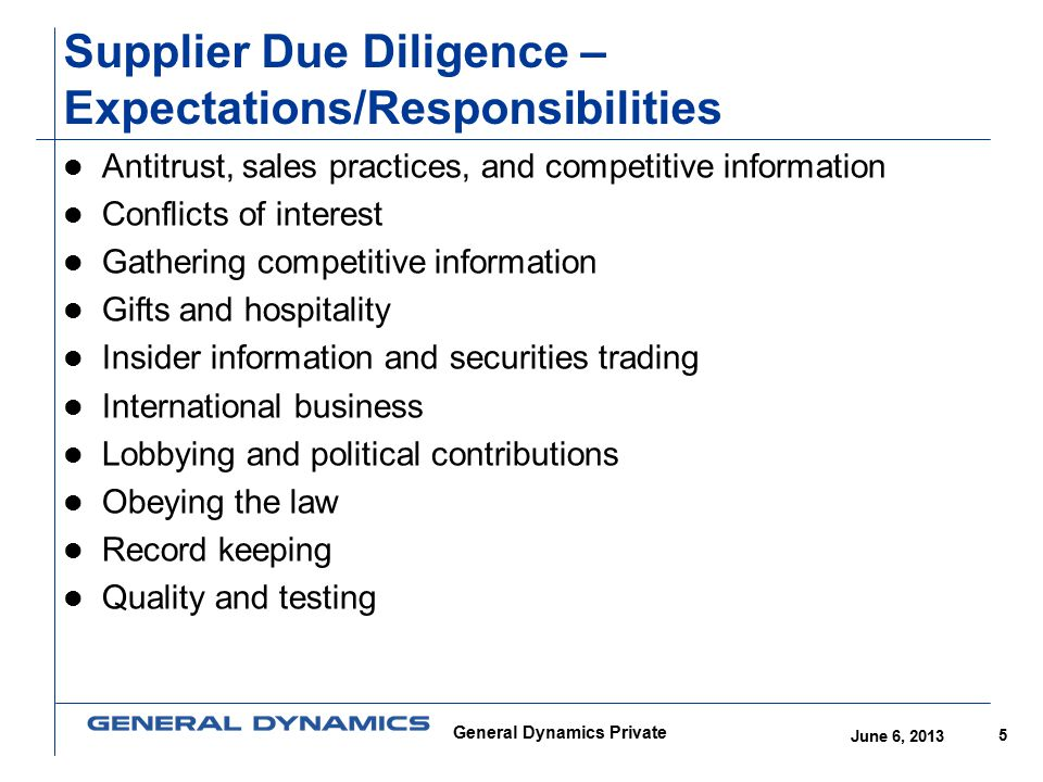 Supplier Due Diligence – Expectations/Responsibilities