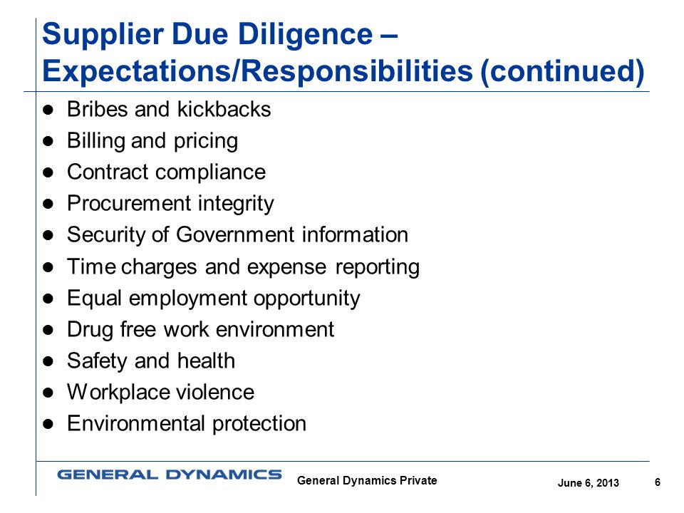 Supplier Due Diligence – Expectations/Responsibilities (continued)