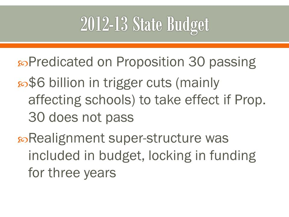 2012-13 State Budget Predicated on Proposition 30 passing