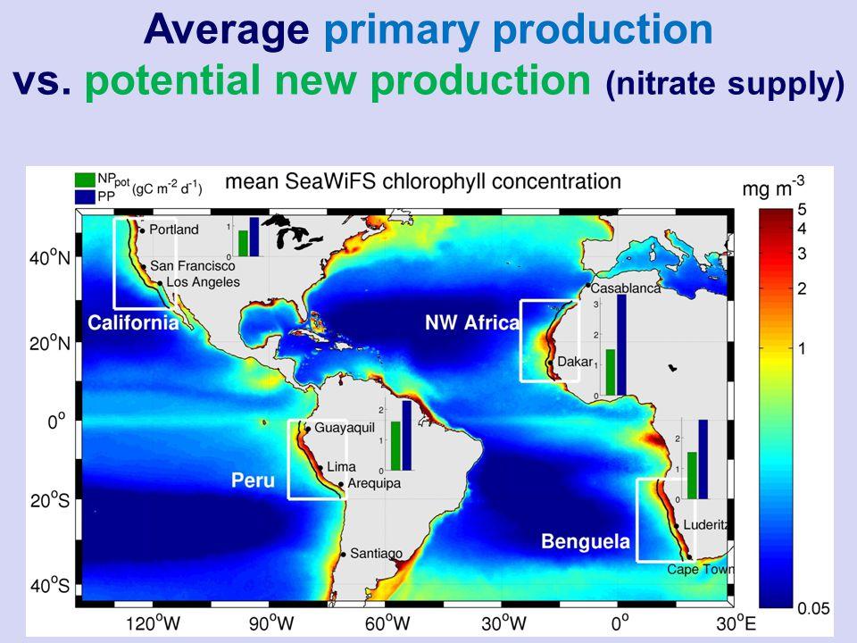 Average primary production vs