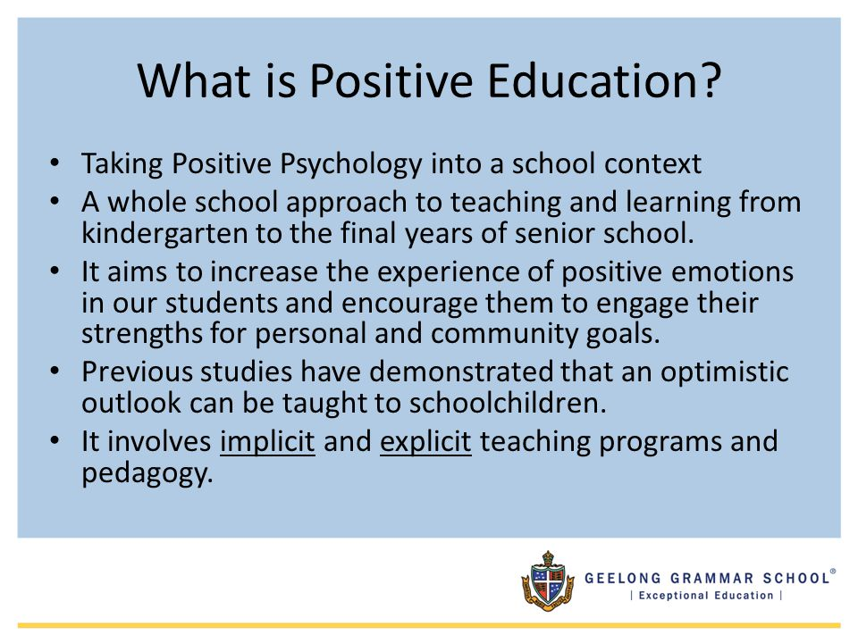 What is Positive Education