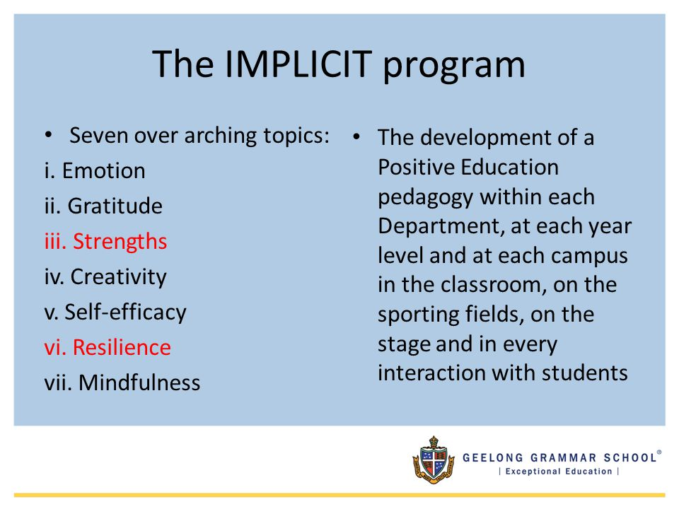 The IMPLICIT program Seven over arching topics: