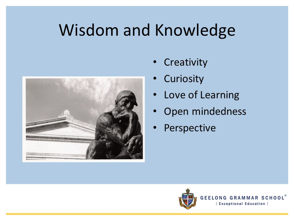 Wisdom and Knowledge Creativity Curiosity Love of Learning