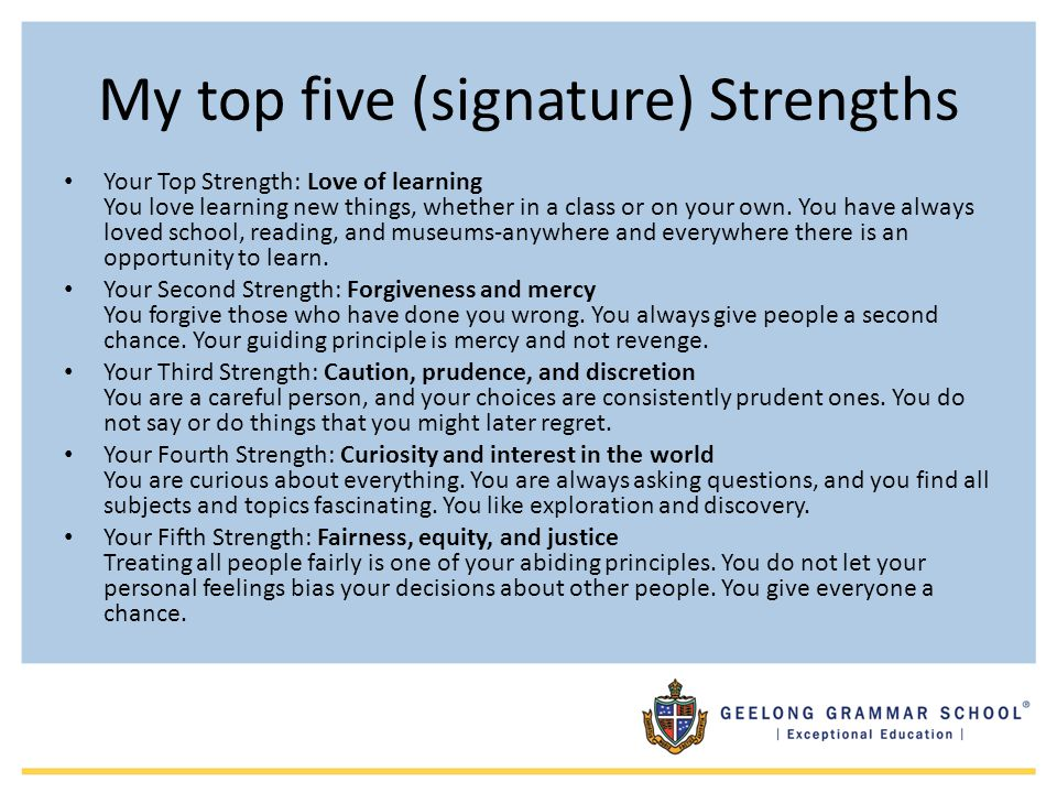 My top five (signature) Strengths