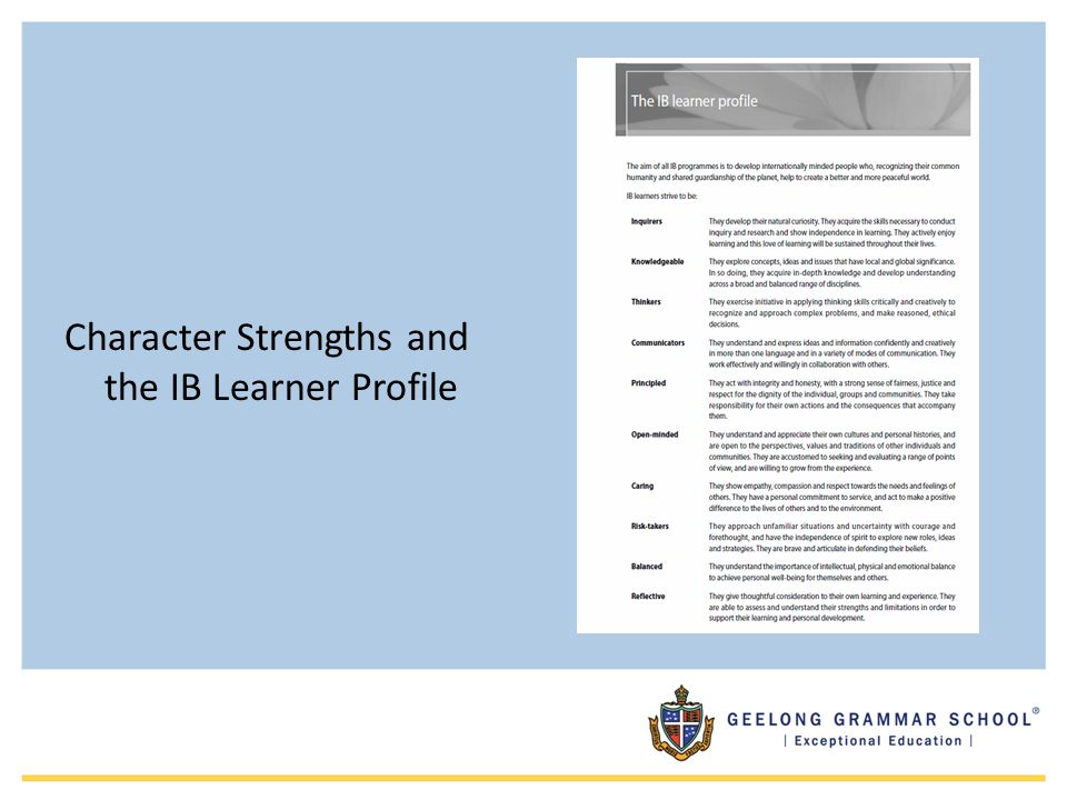 Character Strengths and the IB Learner Profile