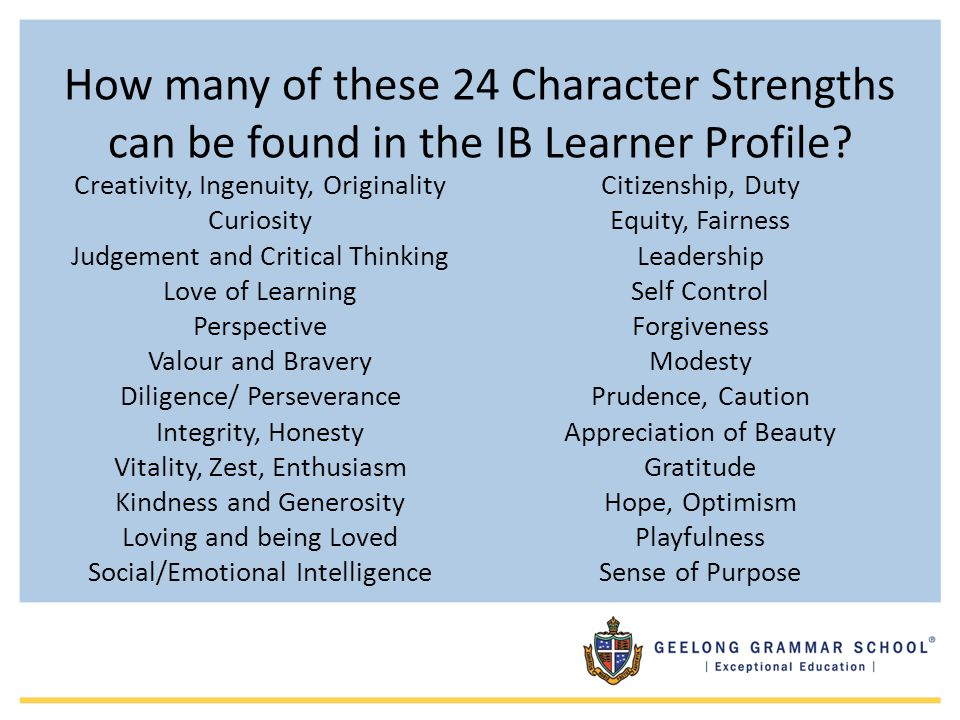 How many of these 24 Character Strengths can be found in the IB Learner Profile