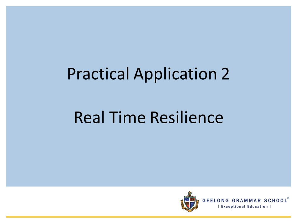 Practical Application 2 Real Time Resilience