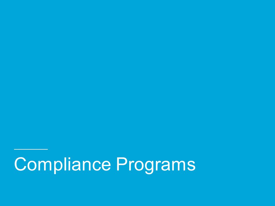 Compliance Programs U.S. authorities' aggressive enforcement efforts place a premium on having an effective compliance program.