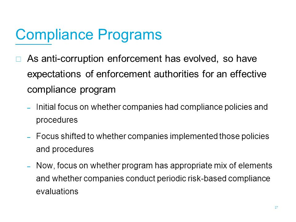 Evolution of Compliance Program Expectations: Acquisition Due Diligence