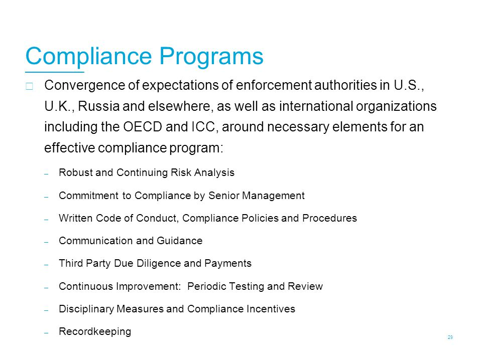 U.S. Authorities Continued Focus on Compliance Programs