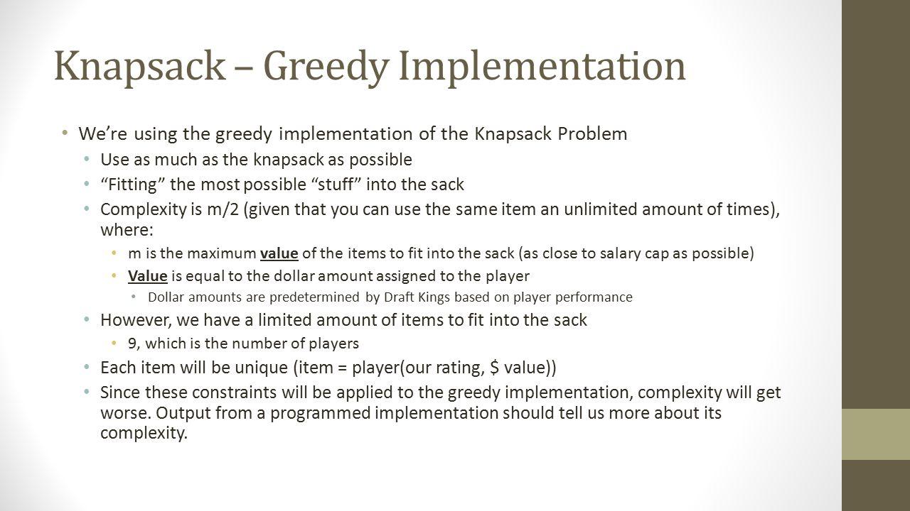 Knapsack – Greedy Implementation