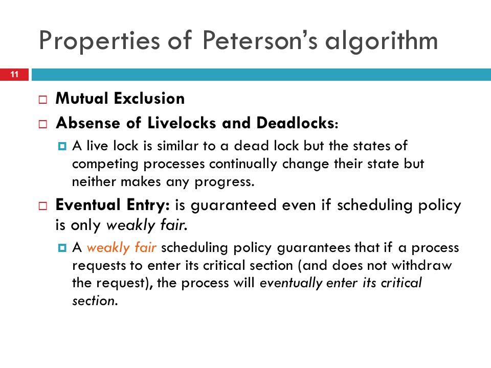 Properties of Peterson's algorithm