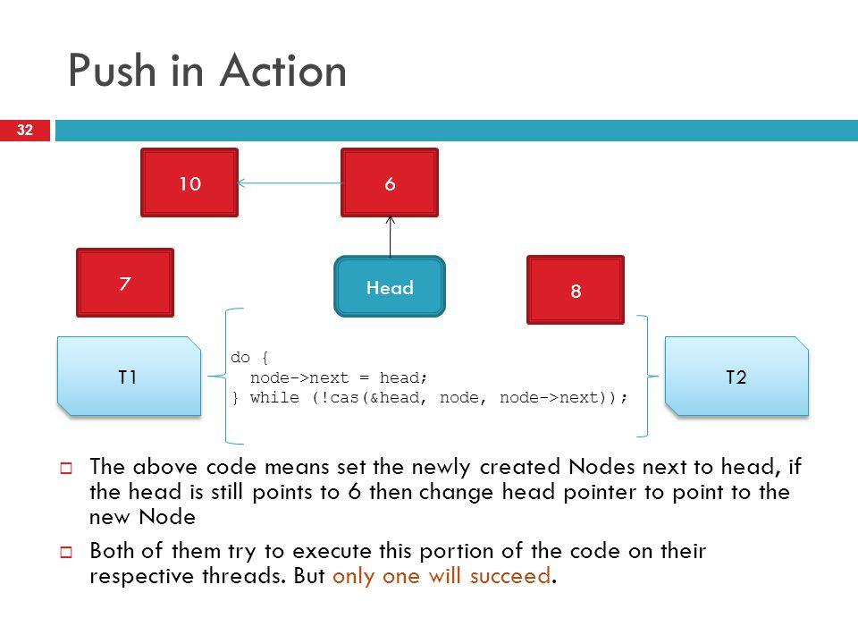 Push in Action 10. 6. Head. 7. 8. T1. T2. do { node->next = head; } while (!cas(&head, node, node->next));