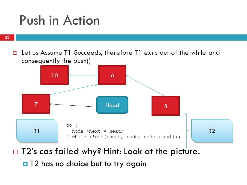Push in Action T2's cas failed why Hint: Look at the picture.