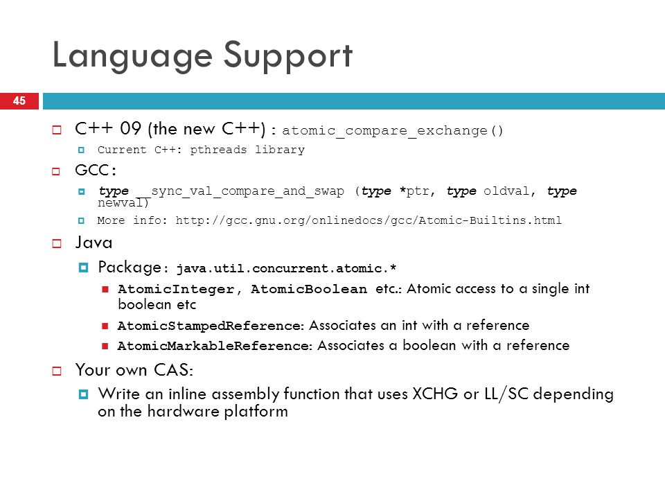 Language Support C++ 09 (the new C++) : atomic_compare_exchange() Java