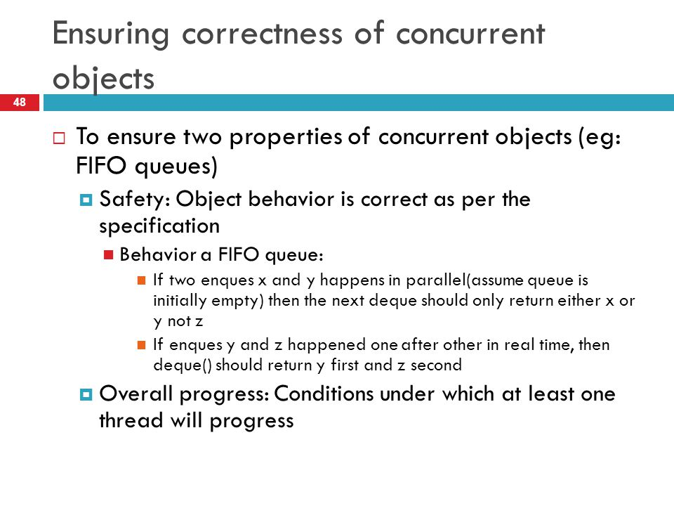 Ensuring correctness of concurrent objects