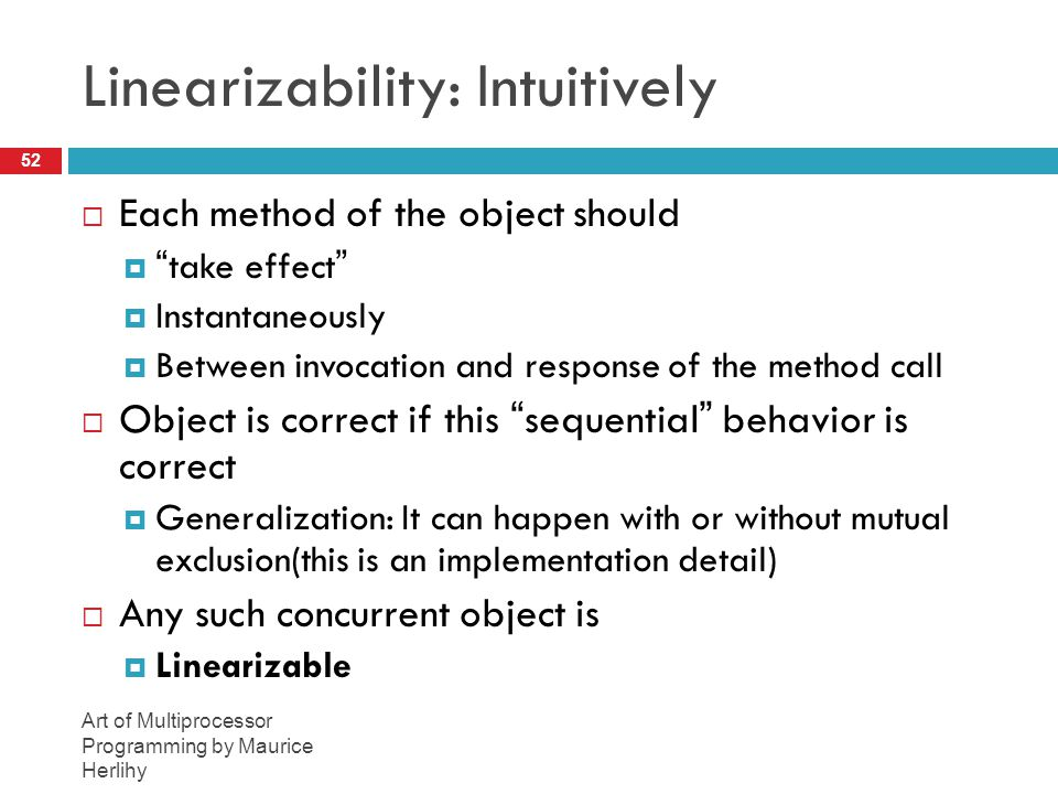 Linearizability: Intuitively