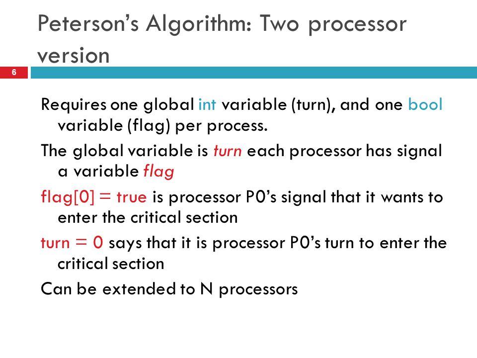 Peterson's Algorithm: Two processor version