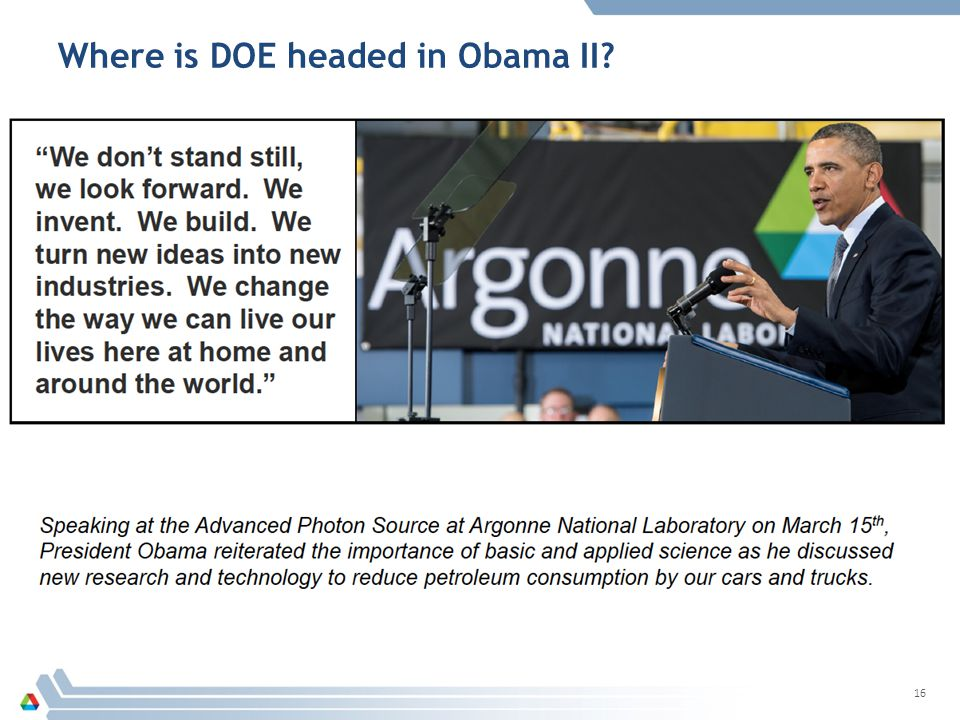 Where is DOE headed in Obama II
