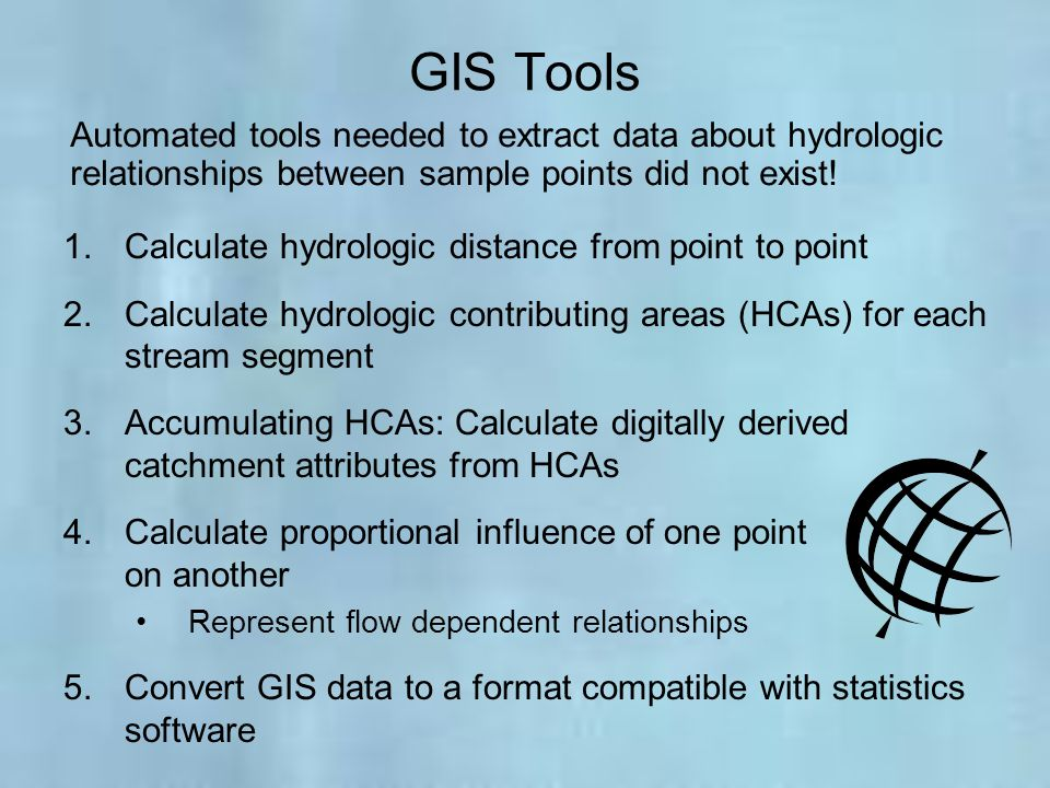 GIS Tools Automated tools needed to extract data about hydrologic relationships between sample points did not exist!