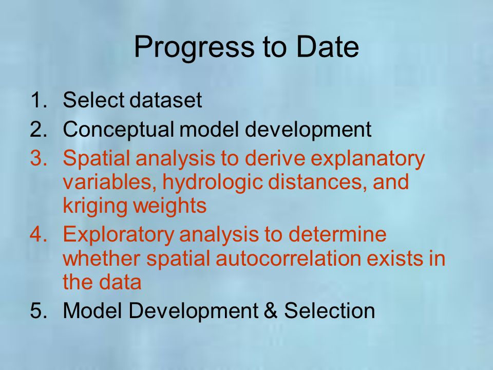 Progress to Date Select dataset Conceptual model development