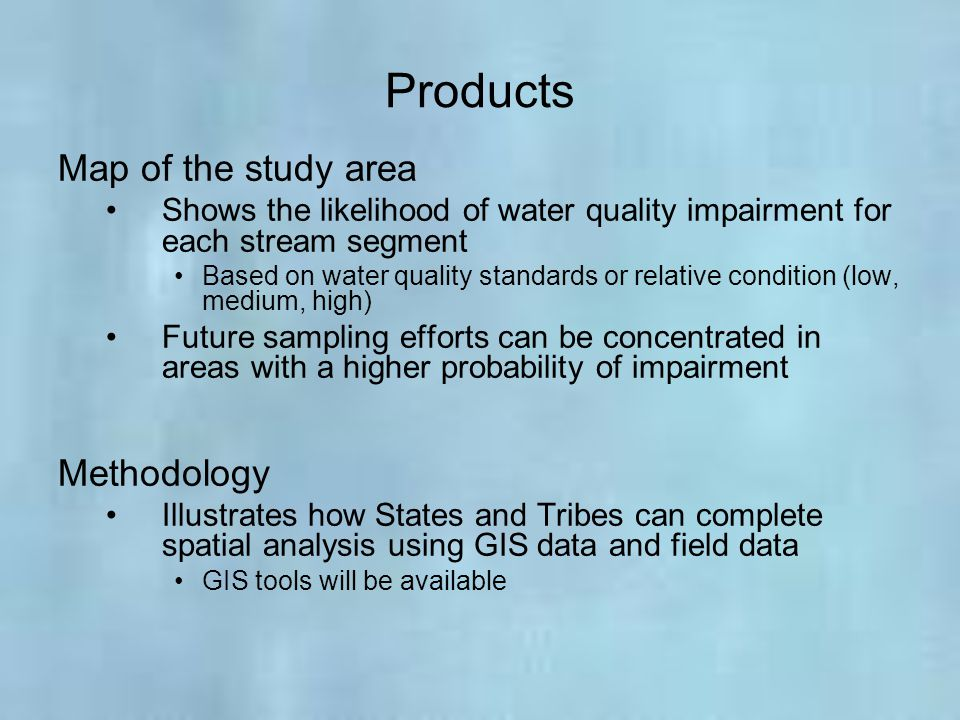 Products Map of the study area Methodology