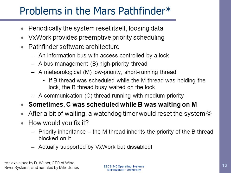 Problems in the Mars Pathfinder*