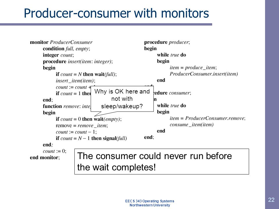 Producer-consumer with monitors
