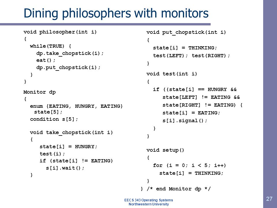 Dining philosophers with monitors
