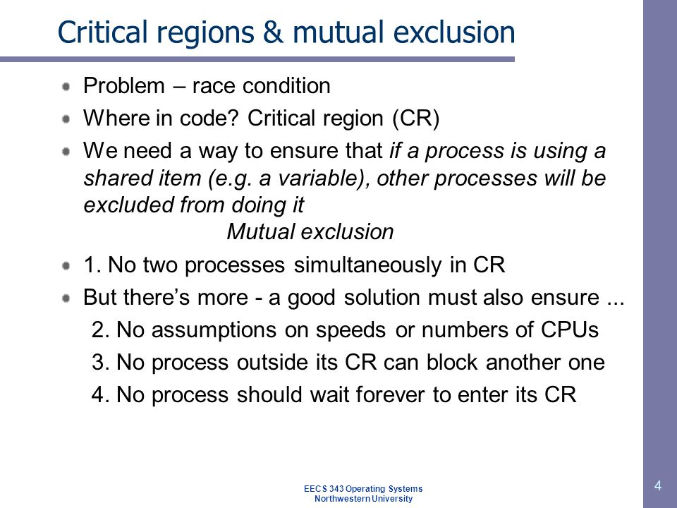 Critical regions & mutual exclusion