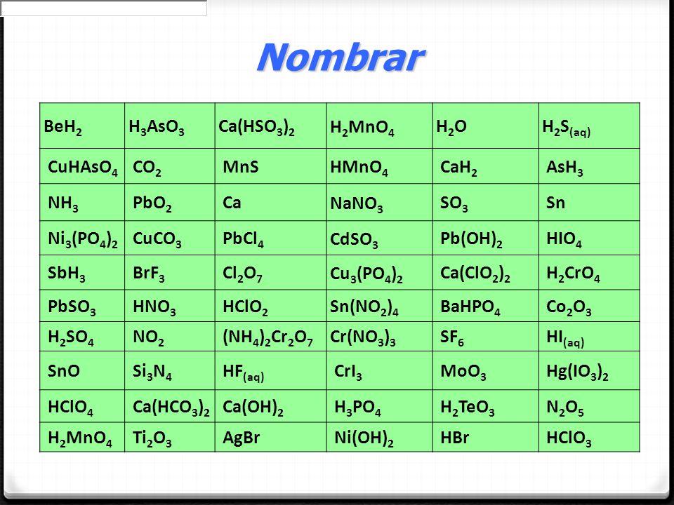 Nombrar BeH2 H3AsO3 Ca(HSO3)2 H2MnO4 H2O H2S(aq) CuHAsO4 CO2 MnS HMnO4