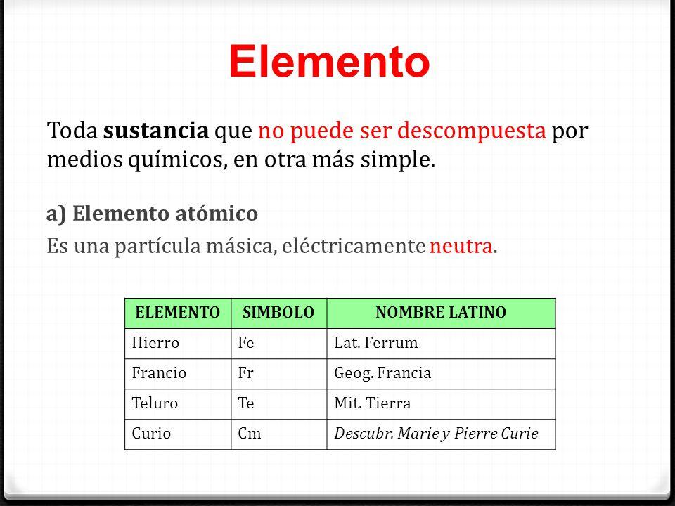 Elemento Toda sustancia que no puede ser descompuesta por medios químicos, en otra más simple. a) Elemento atómico.